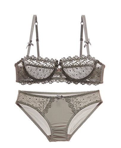 53406b48af39 Womens Lumiere Floral Sheer Lace Balconette Bra and Knickers Set  Under-wired Push Up Bra and Panty Set (38B, Gray) - Buy Online in Oman.