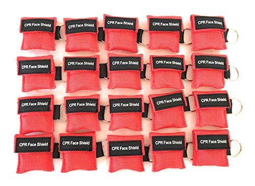 - 20 Pack CPR Keychain Pocket Mask CPR Emergency Face Shield With One-way Valve Breathing Barrier For First Aid Rescue or AED Training By Saving Is Us