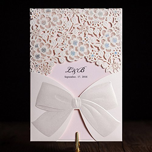 Wishmade 50x Laser Cut Trifold Wedding Invitations Cards with Hollow Lace Flowers and Bow Design Paper Cardstock(set of 50pcs) CW5186