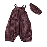 Jarsh 2PCS Set Infant Baby Girls Dots Strap Jumpsuit+Headband Siamese Clothing Clothes Outfit