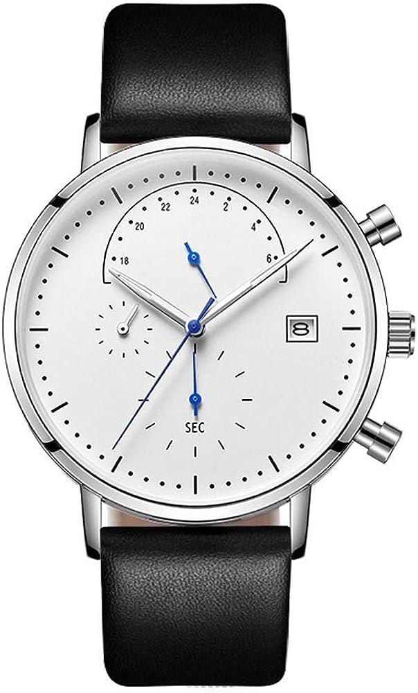Reloj LPLLPL Relojes para Hombre Reloj de Cuarzo Ligero Calendario a Prueba de Agua Reloj analógico Regalos empresariales para los Hombres