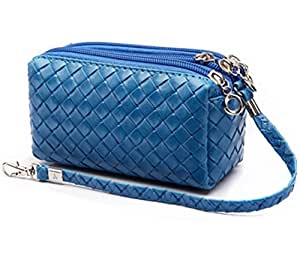 Big Mango Excellent Quality Multi-purpose Fashion Woven Pattern Cellphone Bag Leather Handbag and Clutch Three Separated Zipper Purse for Apple Iphone 4 4s Iphone 5 Iphone 5s 5c Samsung Galaxy S4 S3 HTC Blackberry MP3 MP4 Makeup and Pocket Money with Wristlet ( Blue )