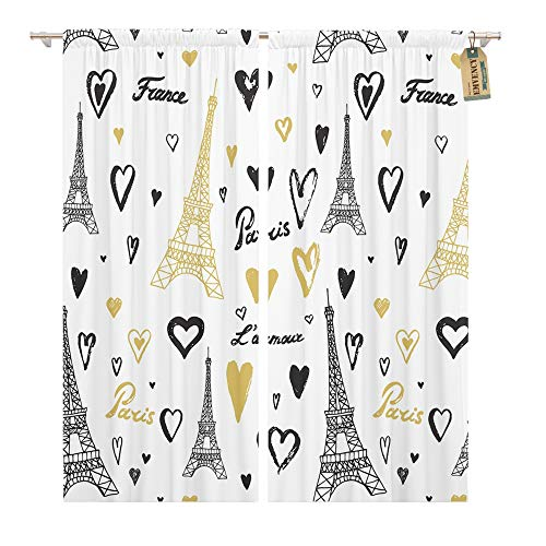 Emvency Window Curtains 2 Panels Rod Pocket Drapes Satin Polyester Blend Hearts Travel Paris Eiffel Tower Line Pattern Building Living Bedroom Drapes Set 104 x 63 Inches