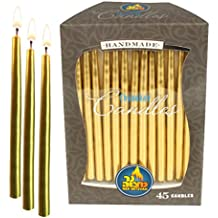 Gold Metallic Dripless Chanukah and Birthday Candles - Standard Size Fits Most Menorahs - Premium Quality Wax - 45 Count For All 8 Nights of Hanukkah - by Ner Mitzvah