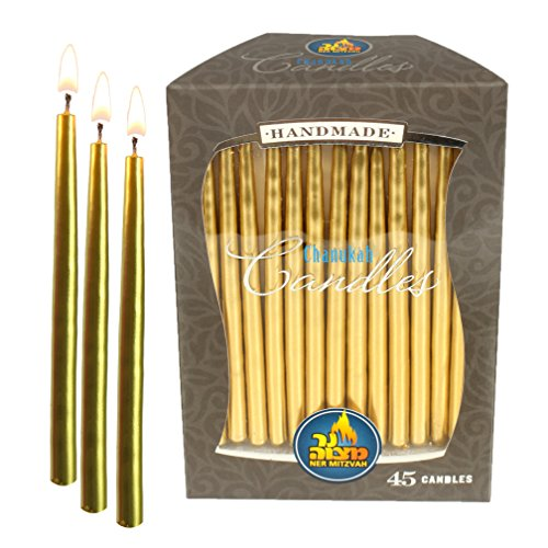 Gold Metallic Dripless Chanukah and Birthday Candles - Standard Size Fits Most Menorahs - Premium Quality Wax - 45 Count For All 8 Nights of Hanukkah - by Ner (Family Menorah)
