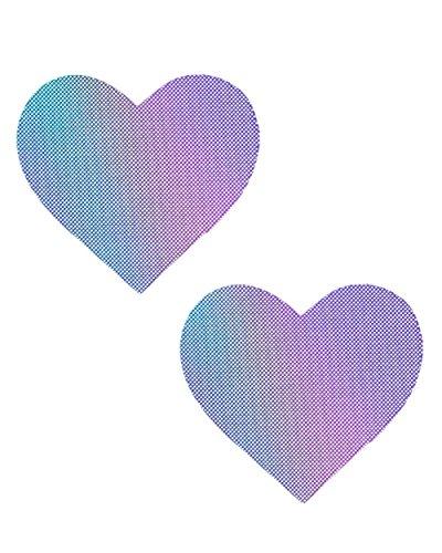 iHeartRaves Lustful Lilac Purple Hologram Heart Pasties (Set of 2 Pasties)