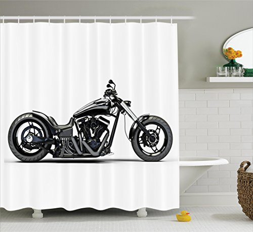 Manly Decor Shower Curtain Set, Custom Made Motorcycle Expensive Horsepower Adventurous Masculine Vehicle, Bathroom Accessories, 75 Inches Long