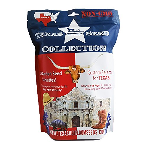 Texas Seed Collection, 5,800+ Seeds, 25 Non GMO Garden Seed Varieties Specifically Selected for Texas Gardens (Collection Only) by Sustainable Seed Company