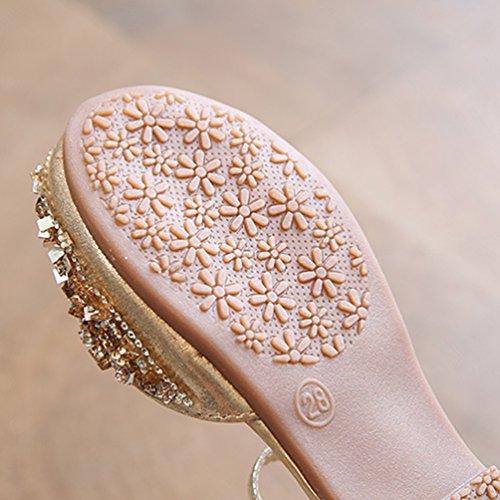 NiSeng Niñas Princesa Calzado Moda Lentejuelas Zapatos Vestir Zapatos Fiesta Zapatos Dorado