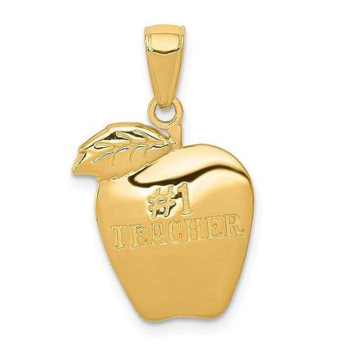 14k Yellow Gold 1 Teacher Apple Pendant 22mm Length