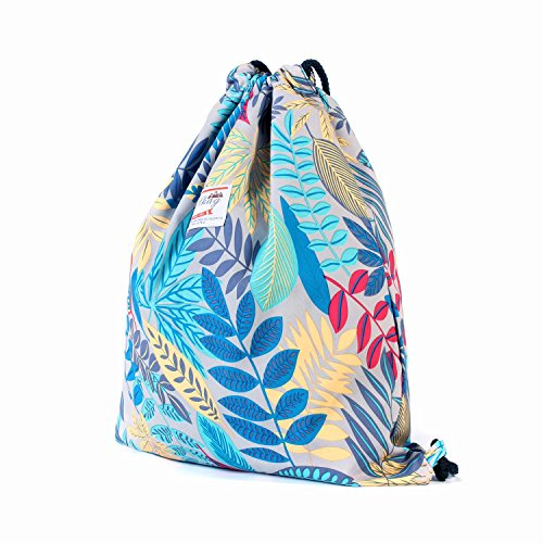 Drawstring Backpack Original Floral Leaf Tote Bag Sackpack For Shopping Gym Dance Swimming Beach