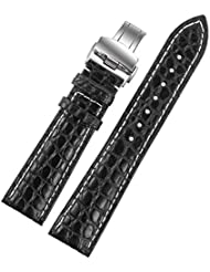22mm Black Luxury Alligator Leather Replacement Watch Straps/Bands Handmade with White Stitching for Swiss Luxury...