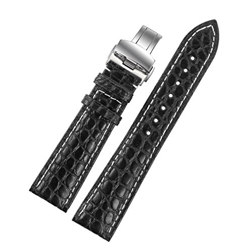 22mm-black-luxury-alligator-leather-replacement-watch-straps-bands-handmade-with-white-stitching-for