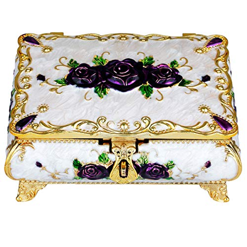 TUMBEELLUWA Metal Jewelry Box Rectangular Shape Enameled Small Trinket Storage Organizer Case with Mirror for Rings Earrings Necklace Home Decor,White Box with Purple Rose