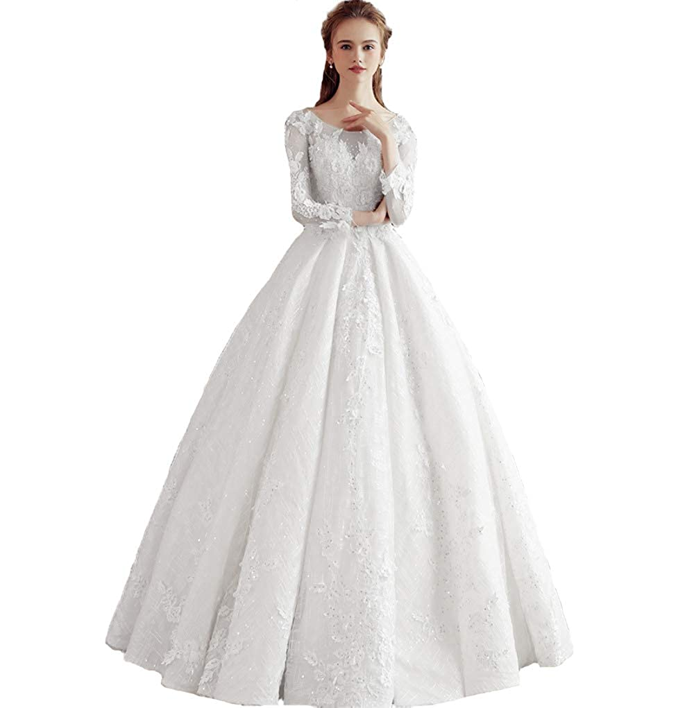 White Liaoye Women's Lace Wedding Dress for Bride 2018 Long Sleeve Applique Tulle Ball Gown Quinceanera Dress