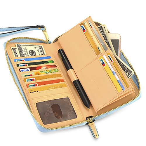 Womens RFID Blocking Wallet Real Leather Zip Around Clutch Large Travel Purse (Multi-color)