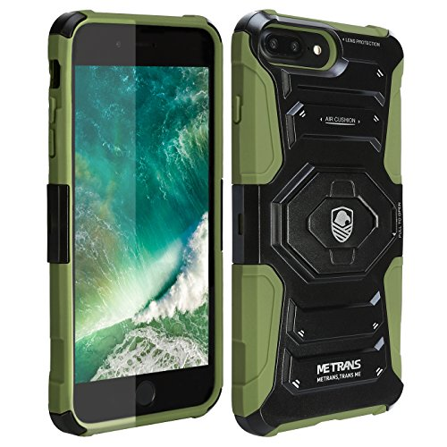 Case For iPhone 7 Plus, Metrans Case Cover Full Protection Anti-Shock Reduction / Bumper Clip Belt Case Cover With Built In Rugged Kickstand for iPhone 7 Plus(Black/Green)