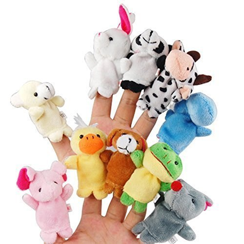 LEORX 10pcs Different Cartoon Animal Finger Puppets Soft Velvet Dolls Props Toys