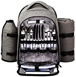 Search : Hap Tim - Waterproof Picnic Backpack for 4 Person With Cutlery Set, Cooler Compartment, Detachable Bottle/Wine Holder, Fleece Blanket, Plates For Picnic Time(Gray)