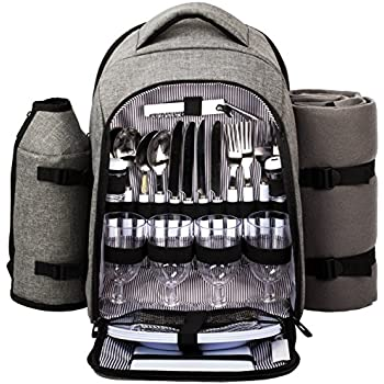 HapTim - Waterproof Picnic Backpack for 4 Person With Cutlery Set, Cooler Compartment, Detachable Bottle/Wine Holder, Fleece Blanket, Plates For Picnic Time(Gray)
