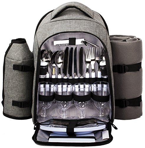 Hap Tim – Waterproof Picnic Backpack for 4 Person with Cutlery Set, Cooler Compartment, Detachable Bottle Wine Holder, Fleece Blanket, Plates for Picnic Time Gray