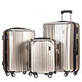 Merax Dreamy ABS+PC 3 Piece Expandable Luggage Set with TSA Lock (Silver w/ light champagne)