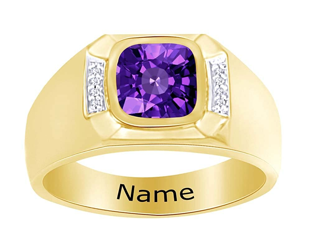 Wishrocks Simulated Birthstone Personalised Engravable Mens Band Ring 14K Yellow Gold Over Sterling Silver