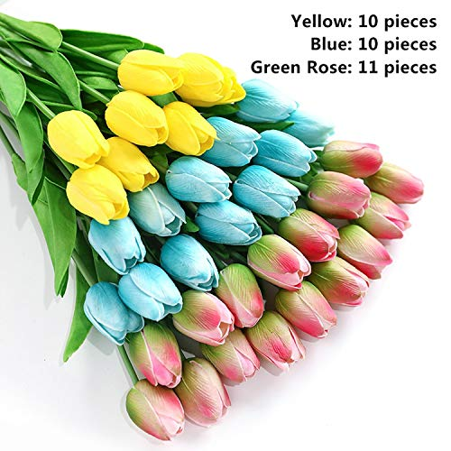 Heat-Tracing 31pieces Artificial Flowers Branch Tulip Real Touch