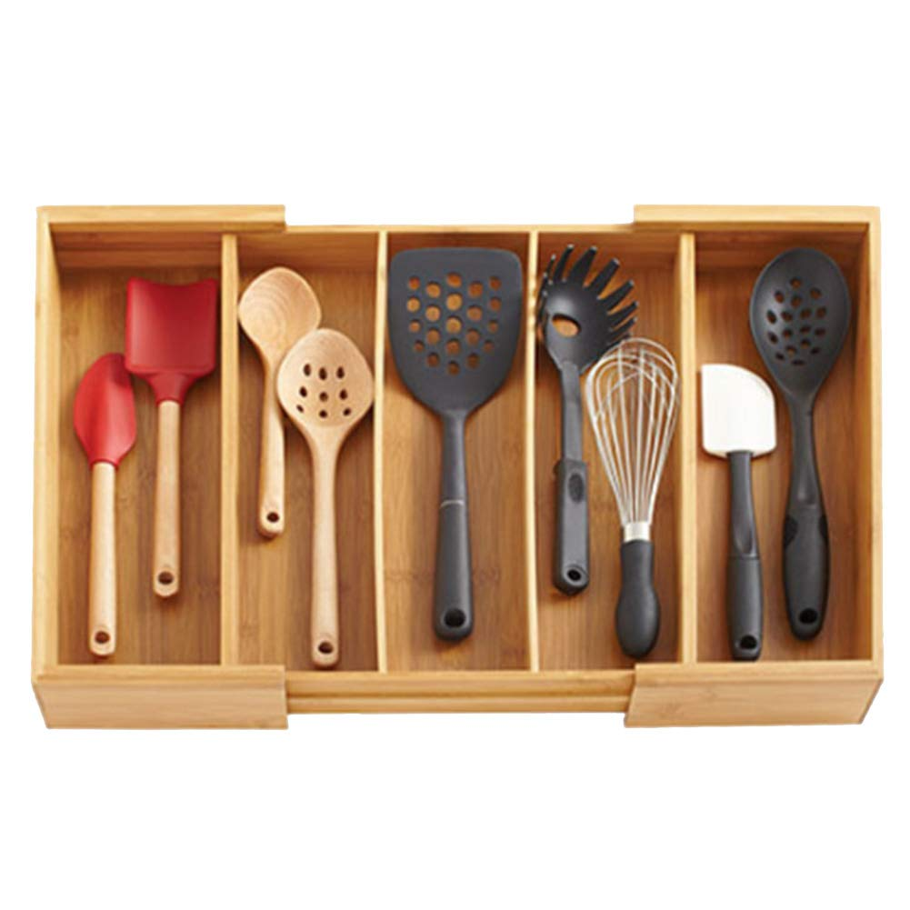 Caja de Almacenamiento de Cubiertos Bandeja para Cubiertos Ajustable Robusto Protección del Medio Ambiente Durable Compartimiento múltiple Cocina ...
