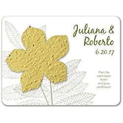 Bloomin Plantable Wildflower Wedding Favor with Seed Paper - Chartreuse (25 Card Set)