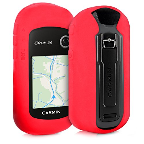 kwmobile Case for Garmin eTrex 10/20/30/201x/209x/309x - GPS Handset Navigation System Soft Silicone Skin Protective Cover - Red