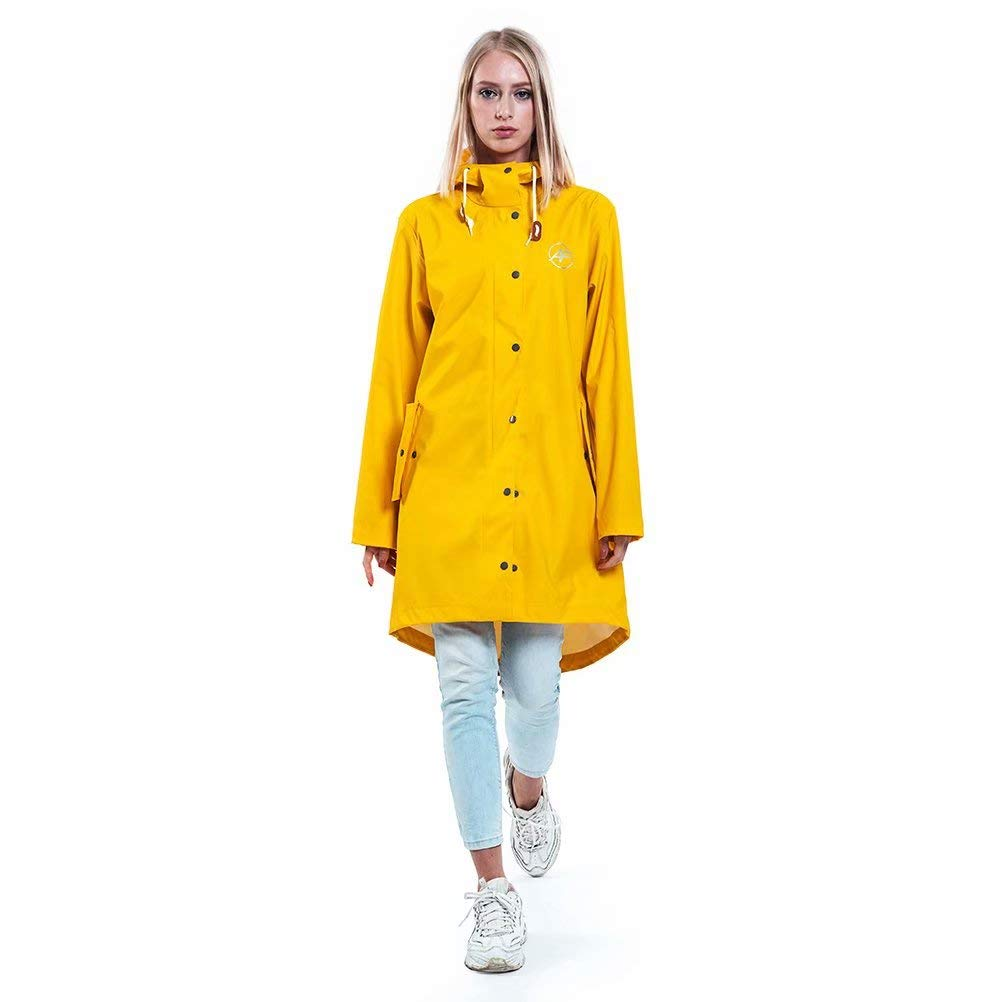ANDES FOREST Women's Waterproof Adjustable-Hood Rain Jacket Yellow by ANDES FOREST