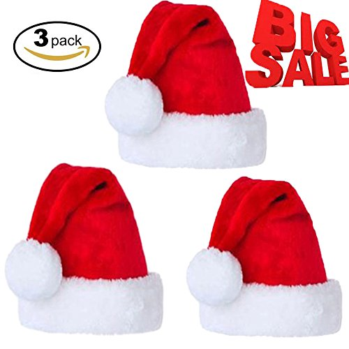 Santa Hat for Adult or Children Winter Plush New Years Xmas Christmas Party Santa Hats Cap for Festive Holiday Supplies, 3 Pieces