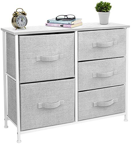 Sorbus Dresser with 5 Drawers - Furniture Storage Tower Unit for Bedroom, Hallway, Closet, Office Organization - Steel Frame, Wood Top, Easy Pull Fabric Bins (White/Gray)