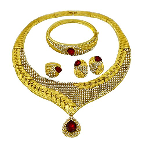 Liffly Fashion Red Rhinestone Wedding Jewelry Set Wheat Charm Necklace Earrings
