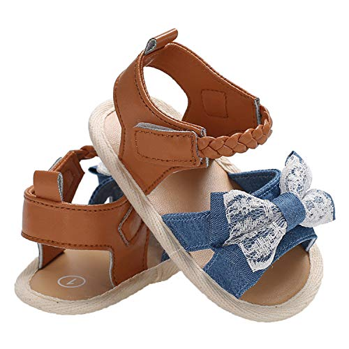 Endand New Cute Toddler Infant Baby Girl Sandals Soft Sole Summer Shoes Bow-Knot Striped Sandal 0-18m,Sky Blue,13-18 Months