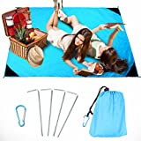 OWUDE Sand Proof Beach Blanket, Quick Drying Ripstop Nylon Beach Mat, Waterproof Compact Picnic Blanket for Travel, Hiking, Camping, Festival, Sports - With 4 Anchor Stakes - Size 55″ x 71″