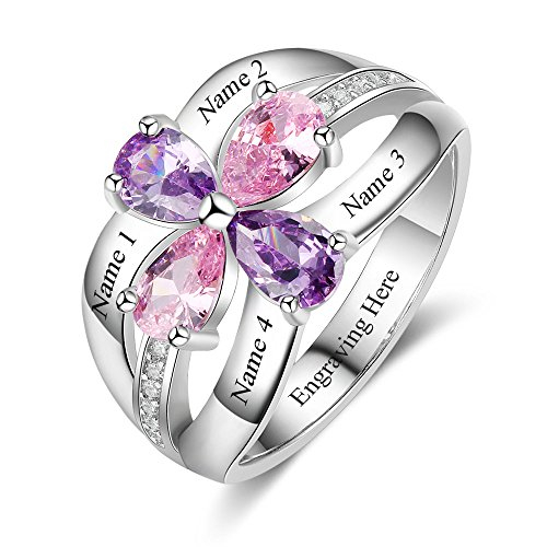 Love Jewelry Personalized Mother Ring Simulated Birthstones Engraved Family Promise Rings for Women (9)