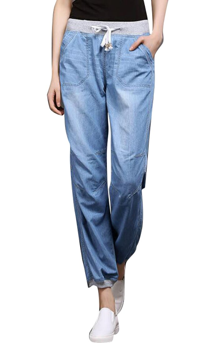 Jofemuho Women's Summer Drawstring Jeans Loose Elastic Waist Jogging Pants Trousers 2 S