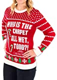 Womens Christmas Vacation Carpet All Wet Todd Ugly Sweater in Red by Festified
