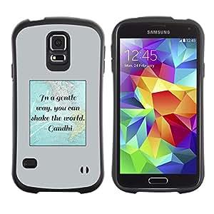 LASTONE PHONE CASE / Suave Silicona Caso Carcasa de Caucho Funda para Samsung Galaxy S5 SM-G900 / Gandhi Quote World Peace Movement