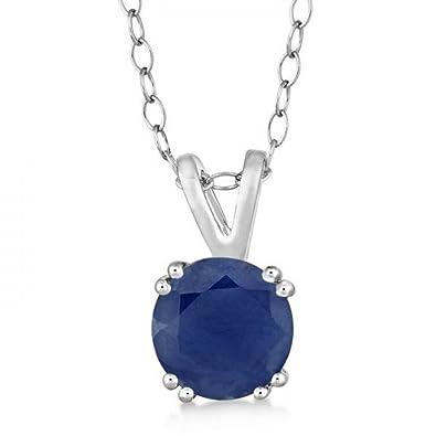 984c786cbfba5 Amazon.com: Genuine Blue Sapphire Solitaire Pendant Necklace for ...