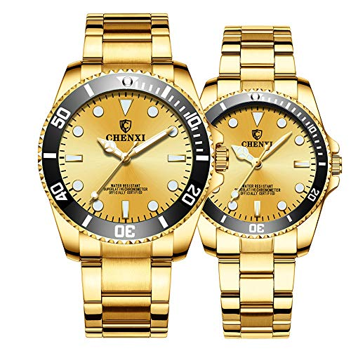 Couple Watches Classic Golden Stainless Steel Watch His and Hers Waterproof Quartz Watch Gifts Set of 2 (Full Gold)