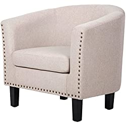 Harper&Bright Stylish Upholstered Fabric Leisure Accent Chair with Armrest and Bonus Soft Seat Cushion & Nailhead Detail (Beige)