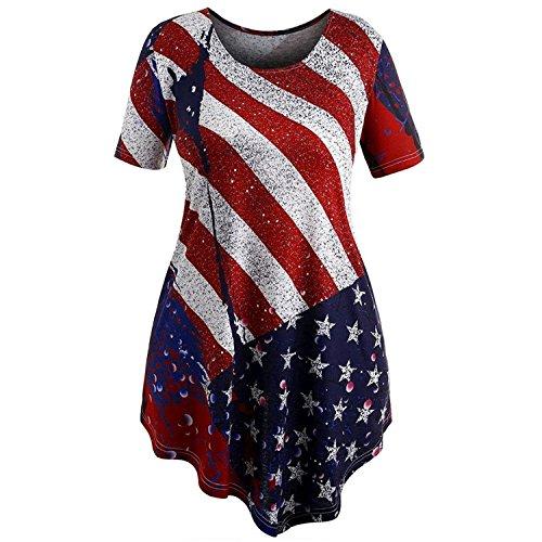 Inverlee Women Loose Short Sleeve American Flag Print Irregular Swing Blouse Casual Summer Tops T-Shirt (2XL, Red)