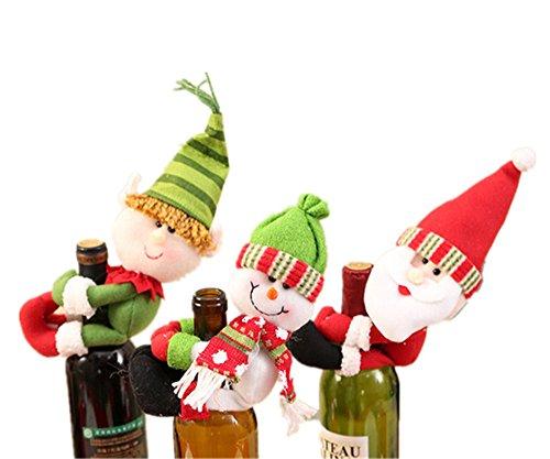 Patty Both Wine Bottle Topper, Christmas Red Wine Bottle Cover Decor Santa Claus Snowman Wizard(3 pcs)