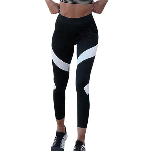 731a81a603b3a OOEOO Women Splice Yoga High Waist Skinny Capris Workout Leggings Cropped  Pants (Black