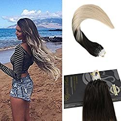 Ugeat 20inch Dark Brown Color 2 Fading to #60 Light Blonde Micro Ring Loop Hair Extensions Human Hair Extensions 50 Strands Per Package 1g/Strand Micro Beads Link Hair Extensions