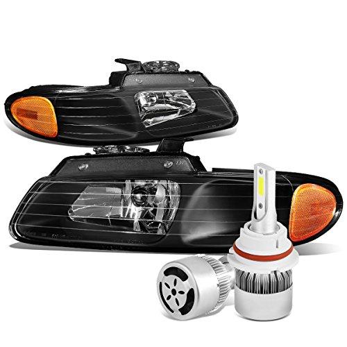 Dodge Caravan / Voyager Pair of Black Housing Amber Corner Headlight + 9007 LED Conversion Kit W/ Fan (Headlight Housing Voyager)