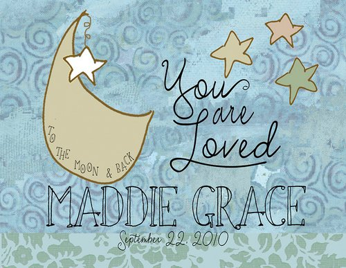 Personalized Light Box Insert - Moon & Stars - You Are Loved - Light Box Not Included - Measures 9 3/4